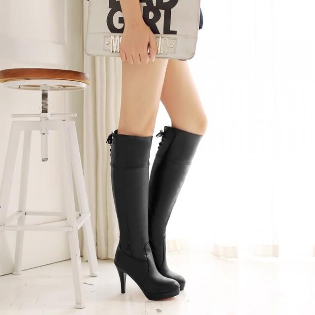 2015 г. большой размер женские сапоги до колена пикантные демисезонные сапоги на высоком каблуке с круглым носком сапоги на невысокой платформе с круглым носком 19–16