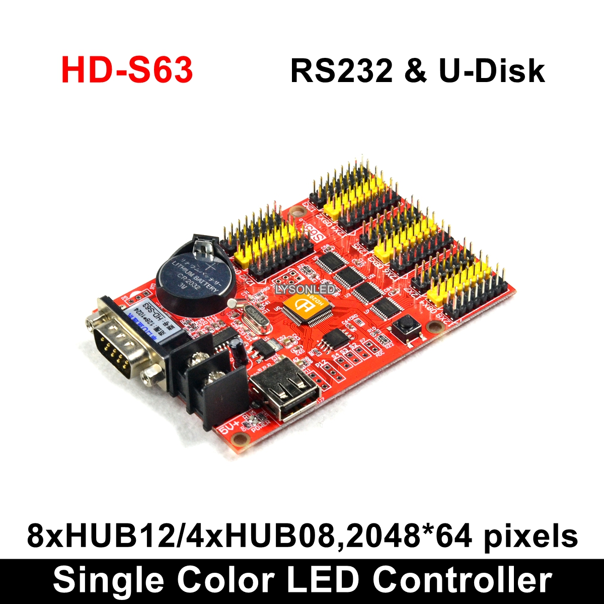 HD-S63 USB-Disk & Serial 232 Communication Ports Huidu Single Color P10 LED Display Control Card, Two Color LED Signs Controller