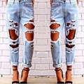 Fashion trend ladies plus size crazy broken hole distressed beggar jeans stylish retro vintage loose causal denim pants women