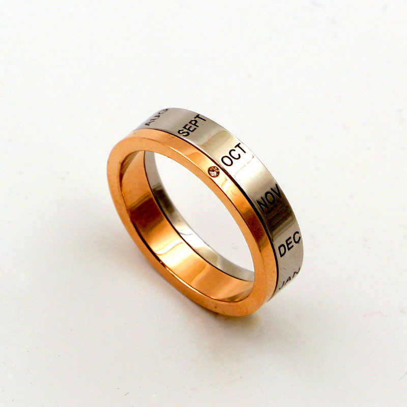 Top Quality Half Can Rotate 12 Months Letters Zircon Ring Titanium Steel Rose Gold And Silver Ring Women Jewelry Gift