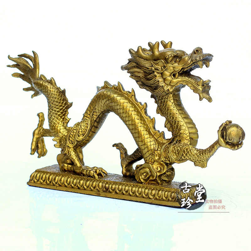 A copper dragon pearl ornaments catch lucky Feng Shui Zodiac dragon dragon Home Furnishing decoration office decoration