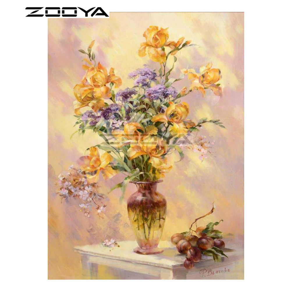 ZOOYA 5D DIY Diamond Flower Vase Grape Oil painting Bench Diamond Painting Cross Stitch Square Drill Mosaic Decoration BK1088