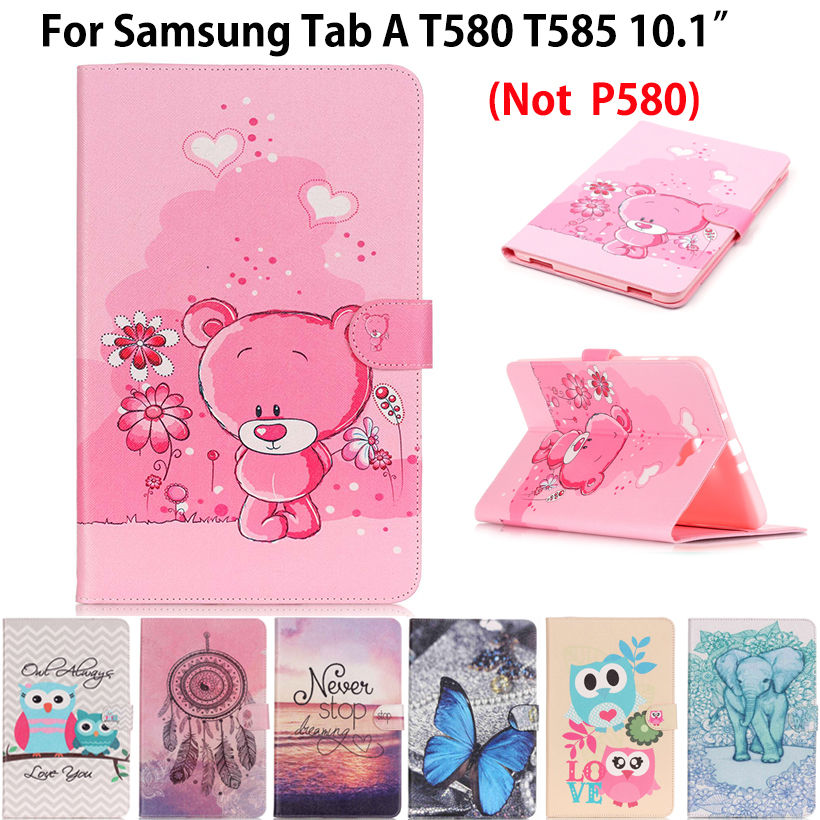 Painted Flip Leather Case For Samsung Galaxy Tab A A6 10.1 2016 T580 T585 T580N Cover Cases Tablet Funda Shell Protective Capa все цены