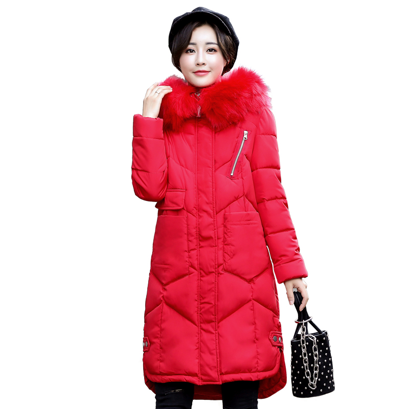 Winter Woman Coats and Jackets Cotton Padded Big Fur Collar Coat Thick Warm Female Long Parka Overcoat Big Size Jaqueta Feminina