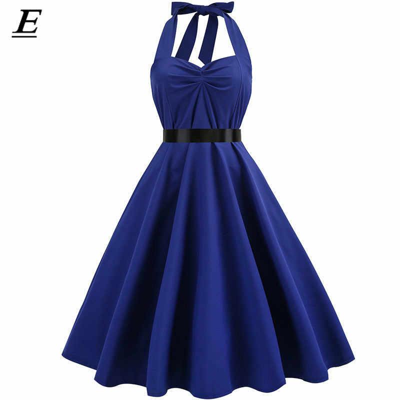 새로운 2019 핑크 미디 드레스 레트로 폴카 도트 헵번 빈티지 50 s 60 s 홀터 파티 핀 로커 빌리 es 로브 플러스 사이즈 파티 vestidos