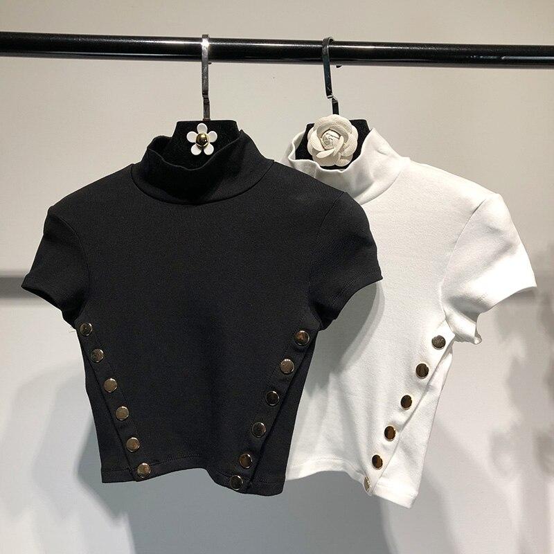 2018 Printemps Crop Top T-shirt de Fille Mince Sexy T-shirts Bouton décoration harajuku Femelle T Jeune Fille Tops Équipe Blanc T-shirts F