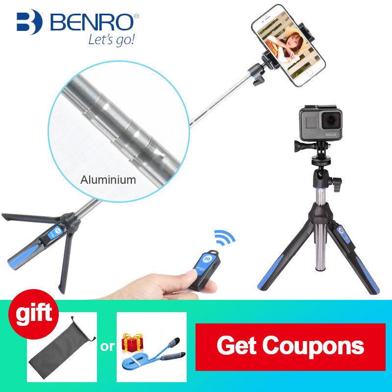 BENRO MK10 33inch Rotation Tripod Selfie Stick Bluetooth Remote Extend Monopod Selfie Tripod for Xiaomi Samsung Gopro Android