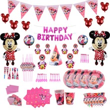 Girls Favor Minnie Mouse birthday party Theme decorations kids Birthday Party Cartoon Paper Cup Plate Napkin Banner