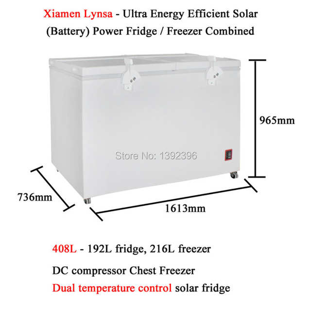 US $896 0 |408L DC compressor Chest Freezer Ultra Energy Efficient Solar  Battery Powered Fridge Freezer Combined Refrigerator-in Refrigerators from