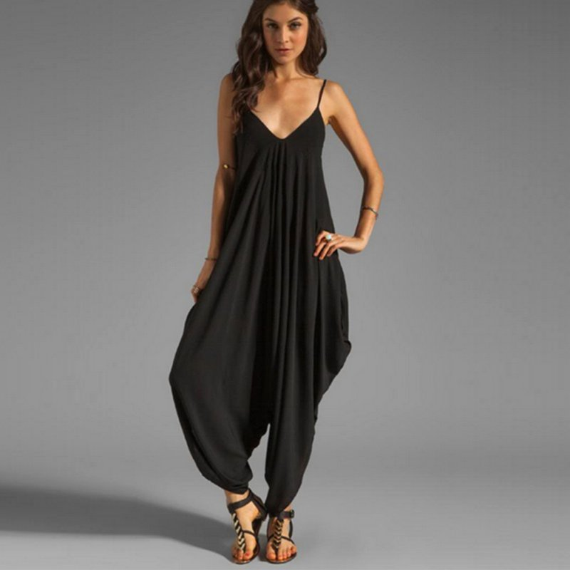 Women V Neck Loose Baggy Fit Summer/Beach/Party Jumpsuit Romper Harem Suit Y12-in Jumpsuits from ...