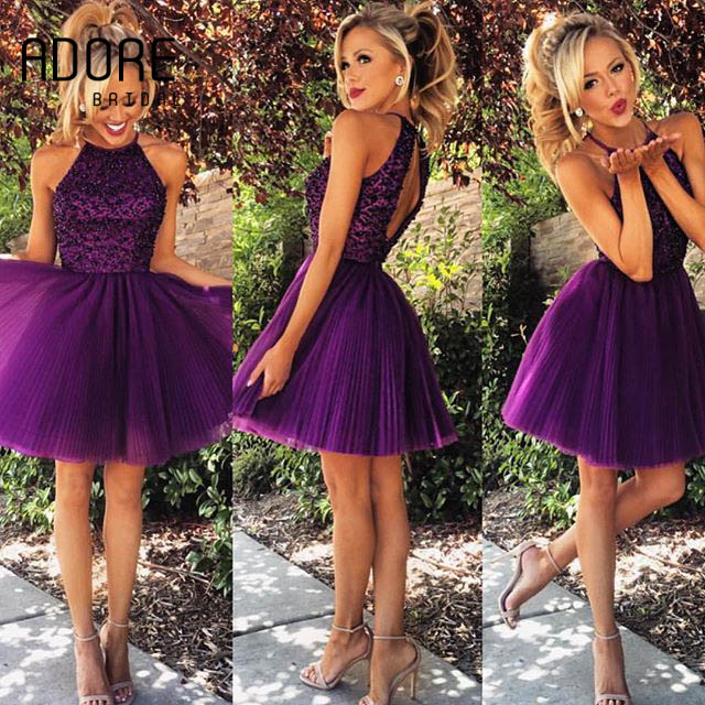 New Short Purpleblack Halter 8th Grade Prom Graduation Gowns For