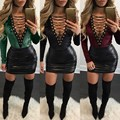 2017 New Sexy Rompers Womens Jumpsuits Long Sleeve V Neck Ladies Bandage Hollow Out Autumn Winter Lace Up Bodysuits Plus Size