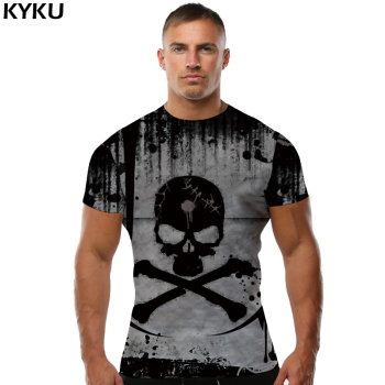 KYKU Skull T Shirt Men Devil Tshirt Punk Rock Clothes 3d T-shirt Hip Hop Tee Casual Cool Mens Clothing 2018 New Summer Top Homme kyku indians tshirt men white feather t shirt hip hop anime clothes character 3d print t shirt punk rock mens clothing summer