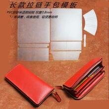 a91e90d38 OMGST DIY tres mujeres billetera de cuero con cremallera pvc plantilla  artesanía de cuero costura patrón