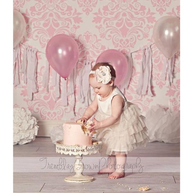 2017 Быстрая доставка 3x5ft 6x9ft тонкий винил розовый картины фоны новорожденного дети печатных день рождения Фоны P0937