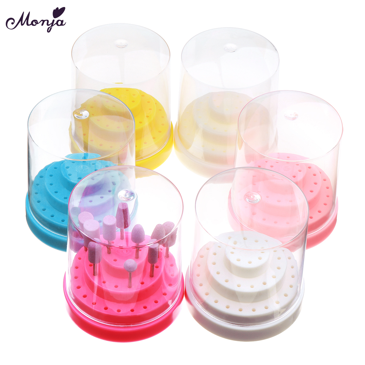 Monja Nail Art 48 Holes Large Nail Drill Bit Storage Box Nail Drill Holder Display Stand Organizer Container Case Manicure Tools