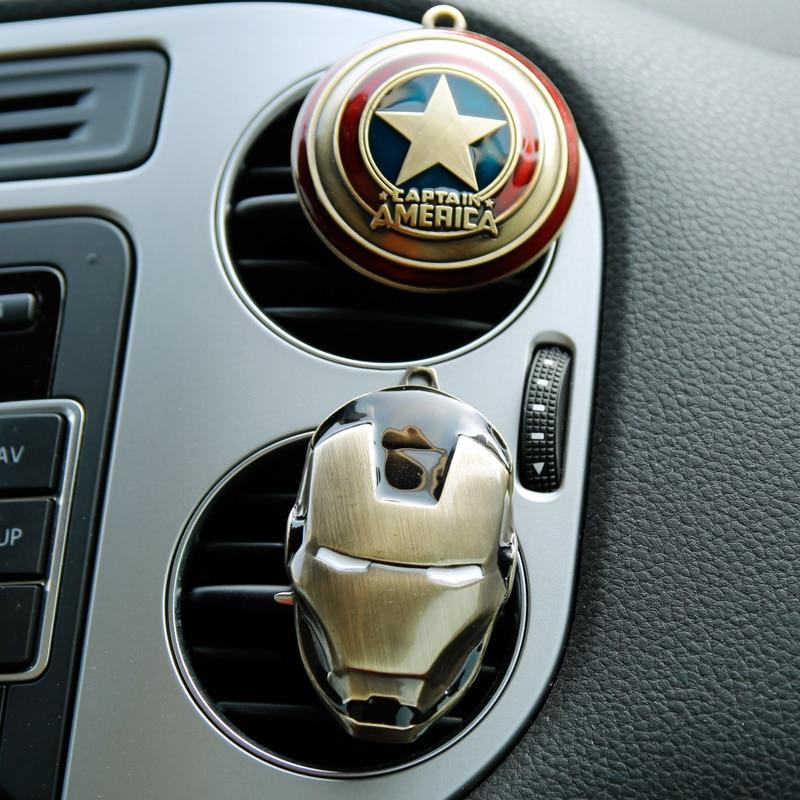 Air Freshener Clip Air Conditioning Breathable Perfume Avengers Marvel Spider Man Iron Man Fan Captain Van Car Model