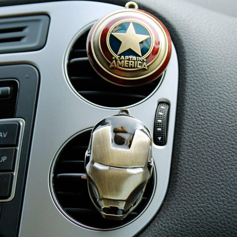 Ambientador con clip aire acondicionado perfume respirable Avengers Marvel Spider Man Iron Man ventilador capitán Van modelo de coche