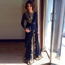 Hot Sale 2016 Elegant Black Abaya Kaftan Muslim Evening Dress Dubai Islamic Embroidery Long Sleeve prom dress Formal gown