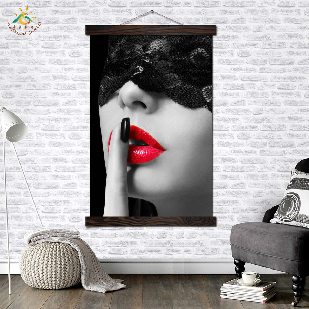 Sexy Red Lip Girl Modern Wall Art Print Pop Art Picture And Poster Solid Wood Hanging Scroll Canvas Painting Home Decor in Painting Calligraphy from Home Garden