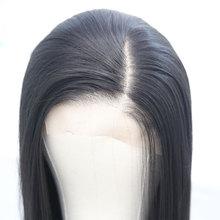 Bombshell 13*6 большой синтетический кружевной передний парик прямые Термостойкие волокна волос естественная линия волос боковое расставание для женщин
