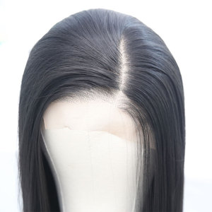 Image 1 - Bombshell Black Pink White Synthetic Lace Front Wig Glueless Straight Heat Resistant Fiber Hair Natural Hairline For Women Wigs