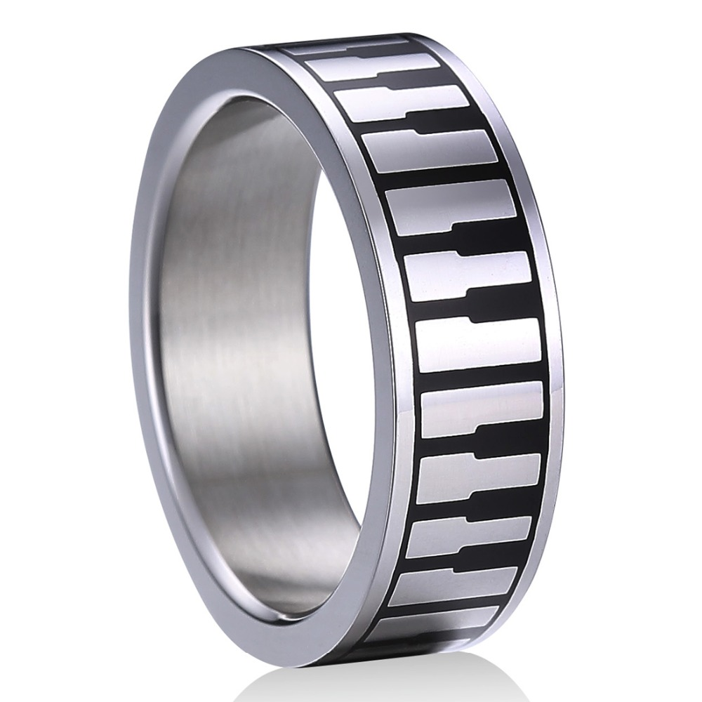 Drop shipping Top Quality Praise and Worship Stainless Steel Music Piano Keyboard Rings for Men Women Unique Wedding Band