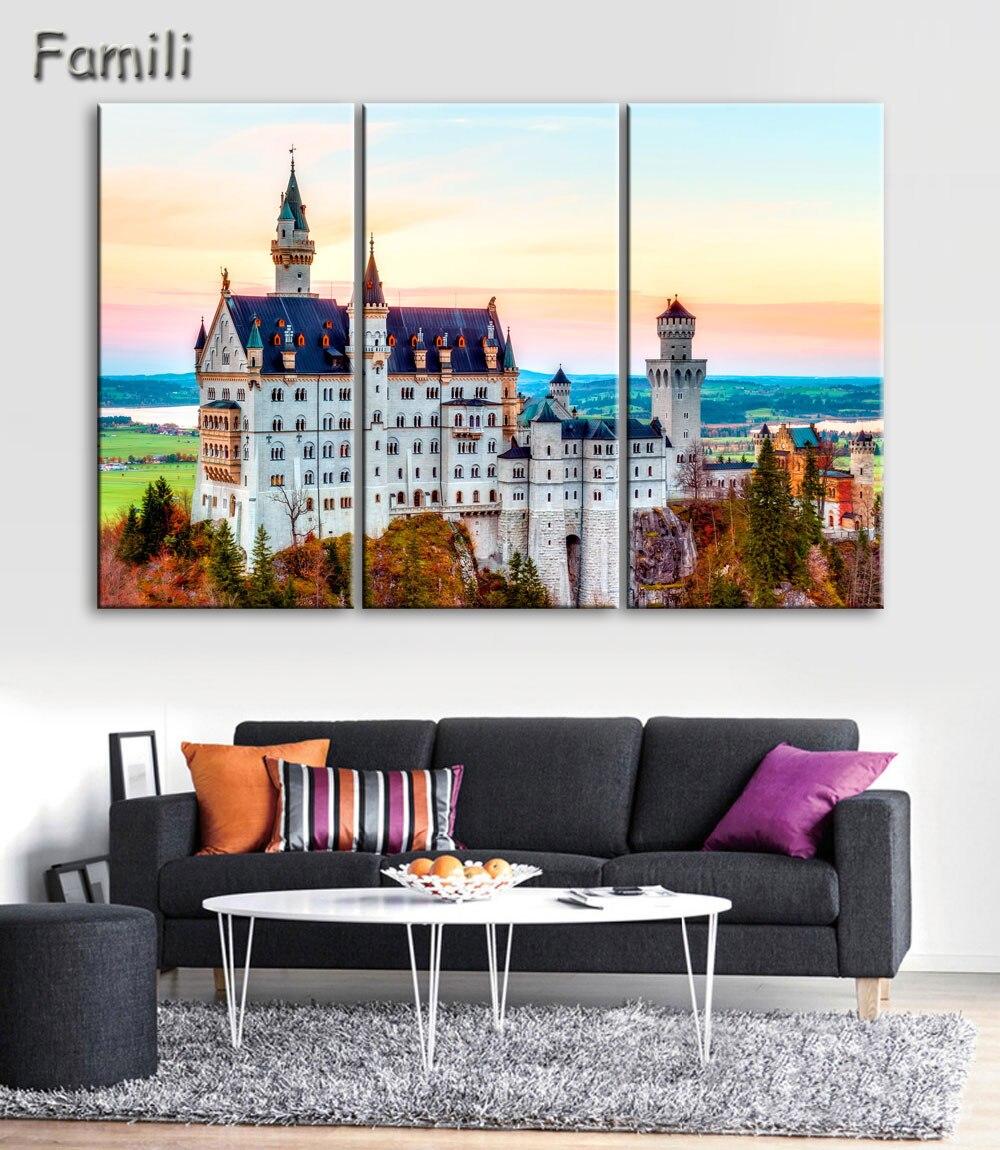 US $8.15 35% OFF|Wohnzimmer schlafzimmer hause wandkunst dekoration stoff  poster schloss neuschwanstein bavaria deutschland berühmte gebäude ...