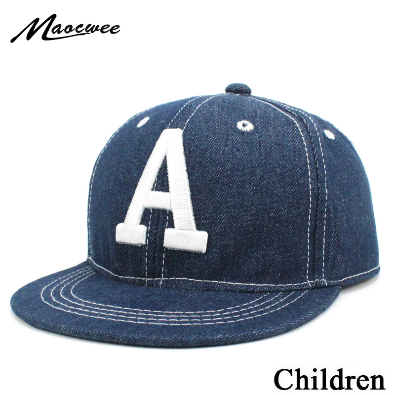1e8cb54d4a4 Kids Boys Baseball Cap Summer Children Letter Embroidery Dad Hat Jean  Casual Hip Hop Denim Sun Cowboy Snapback Casquette Blue