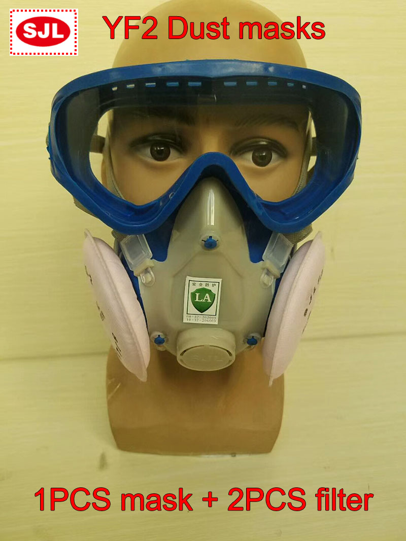 SJL 100-2 respirator dust mask Severe dust Protection respirator mask Goggles Integrated full face respirators full face mask men women outdoor motorcycle cycling sunscreen soft lycra head cover safety mask anti dust protection multi color