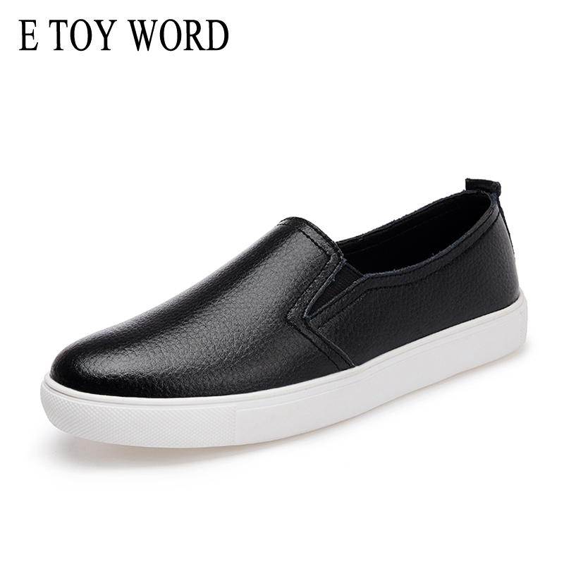 E TOY WORD 2018 Autumn Women Leather Loafers Fashion ballet flats white black Shoes Woman Slip On loafers boat shoes Moccasins jingkubu 2017 autumn winter women ballet flats simple sewing warm fur comfort cotton shoes woman loafers slip on size 35 40 w329