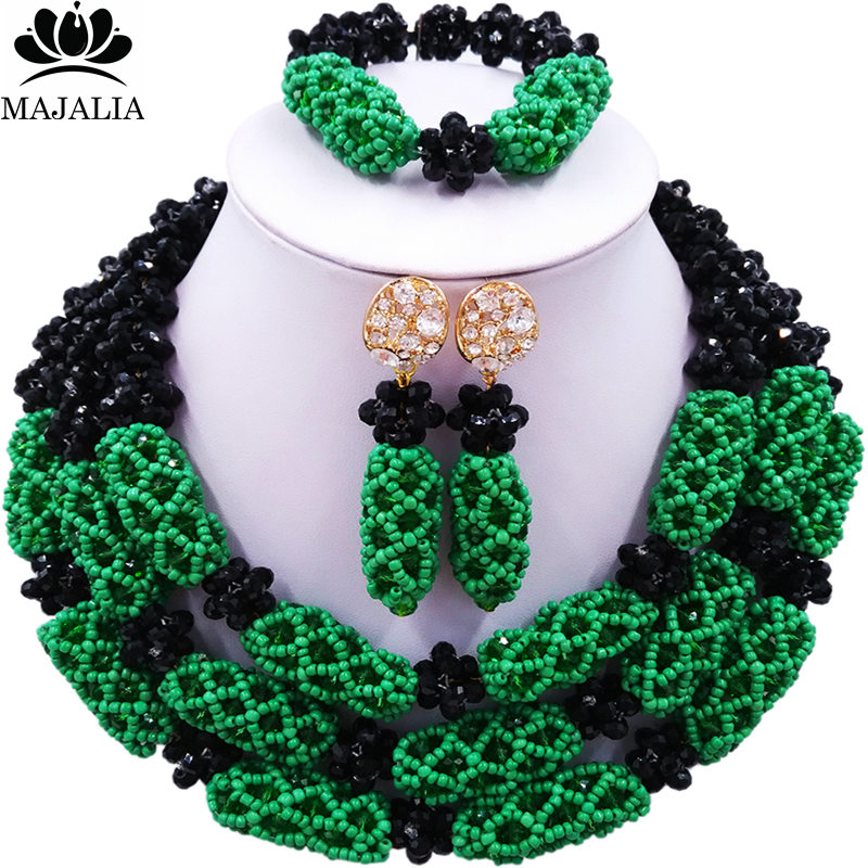 Majalia Mode Femmes noir et vert Africain Costume Jewelry Set Mariage Nigériane Perles Africaines Ensemble de Bijoux CX-012