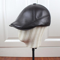 New Leather Elderly Male Beret Hat Autumn Winter Genuine Leather Warm Ear Protection Cap Men's Women Fashion Berets Caps H6965