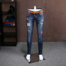 European station autumn and winter section Slim type Korean jeans male embroidery jeans male Slim pants