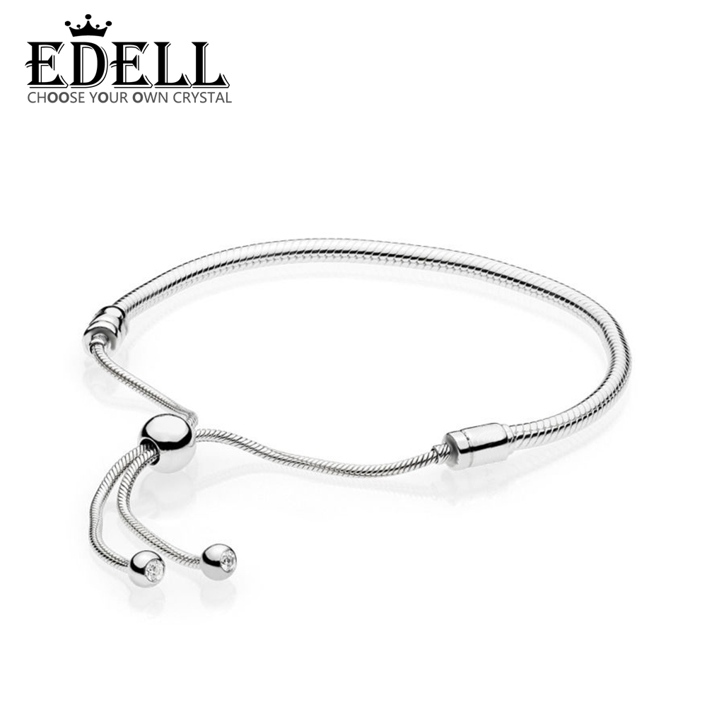EDELL 100% 925 Sterling silver 1:1 Original Authentic 597125CZ Charm Basic Bracelet Suitable DIY Beaded Women Jewelry