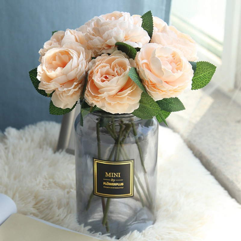 1PCS Peony Flower Artificial Flowers Fashion European Peony Fake Wedding Bride Bouquet Indoor Home Party Decoration