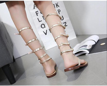 Flats Gold Rhinestone Knee High Buckle Strap Shoes