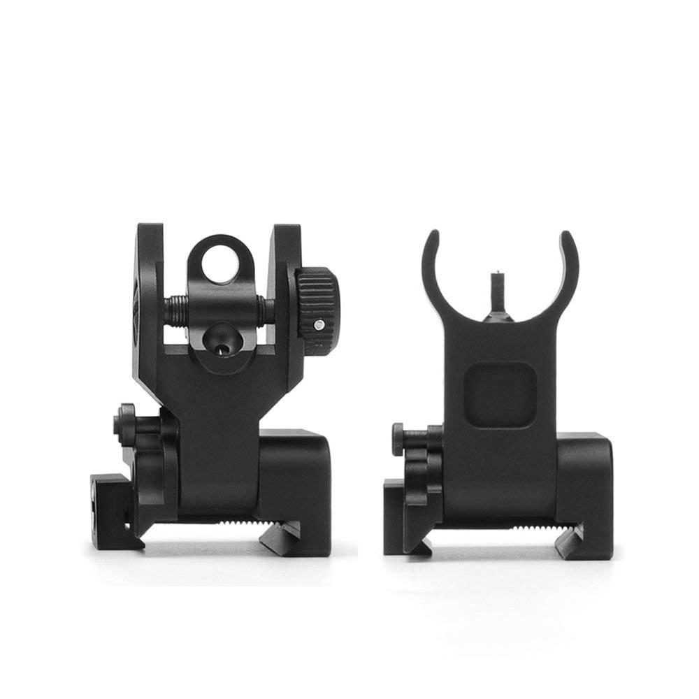 US Premium Tactical Flip Up Mil Spec Iron Sights Front + Rear Sight Mounts Set title=