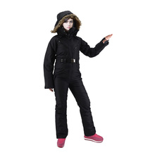 Hooded ski suit jumpsuit plus velvet thick large size export foreign trade play snow super warm