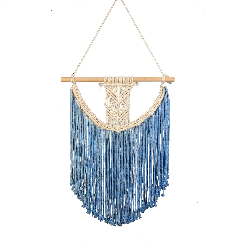 Bohemian Cotton Woven Wall Tassel Tapestry Macrame Art Handmade Blue Color Tapestry Apartment Hotel Home Bedroom Wall Decoration(China)