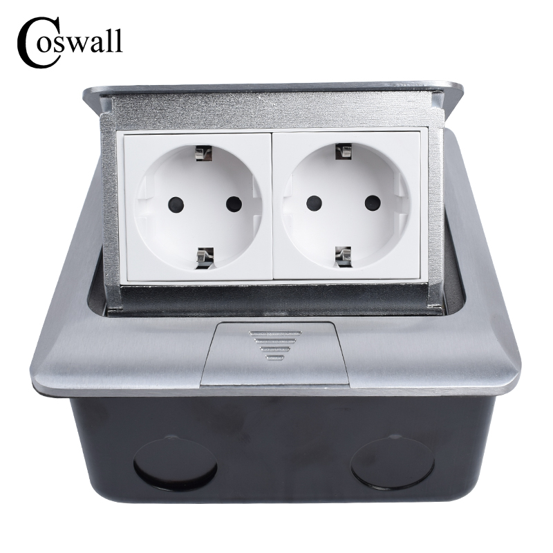 Coswall All Aluminum Panel EU Standard Pop Up Floor Socket 2 Way Electrical Outlet Modular Combination Customized Available manufacturer all aluminum panel uk standard pop up floor socket single power outlet rj45 audio 10 pcs set