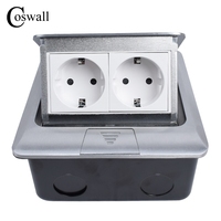 Coswall All Aluminum Panel EU Standard Pop Up Floor Socket 2 Way Electrical Outlet Modular Combination Customized Available