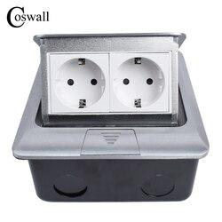 Coswall Alle Aluminium Panel EU Standaard Pop Up Floor Socket 2 Manier Stopcontact Modulaire Combinatie Aangepaste Beschikbaar