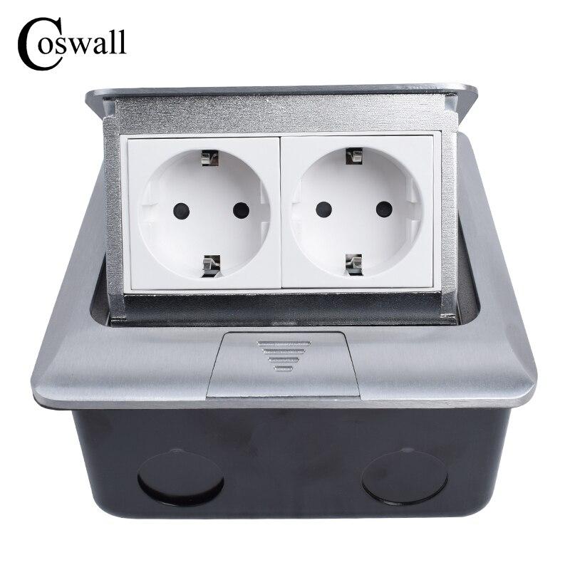 Coswall Alle Aluminium Panel EU Standard Pop Up Boden Sockel 2 Way Steckdose Modulare Kombination Kunden Verfügbar