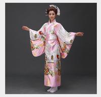 Fashionable Women Floral Kimono Sexy Romantic Yukata With Obi Vintage Party Dress Japanese Cosplay Costume One Size