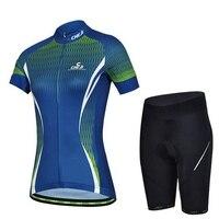 CHEJI Women Cycling Jersey Sets/Bike Short-sleeve Sportswear/Mtb Riding Roupa Ciclismo Outdoor Cycling blue Clothing