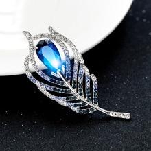 Rhinestone Broche de Joyería de Moda Hecha A Mano Azul de Plumas de Cristal Broches Pins Hijab Para Las Mujeres Vestido de Novia Broches Pin Badge