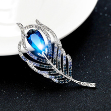 Rhinestone Brooch Jewelry Fashion Handmade Blue Crystal Feather Hijab Pins Brooches For Women Wedding Dress Brooches Pin Badge