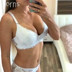 Image 1 - Norns Nữ Plus Kích Thước Bộ Đồ Lót Trong Suốt Push Up Đỏ Đồ Lót Áo Ngực Phối Ren Thêu Thân Mật Áo Lót Bộ Đồ Lót Ren Sexy