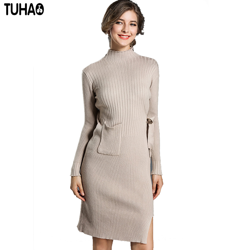 TUHAO Knitted Sweater Women Dress Sashes Pocket Knee-Length Femme Tunic Solid Bodycon Sheath Office Lady Vintage Dresses HC28 pocket full length tee dress